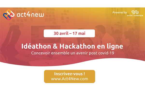 Sur fond orange logo Act4New idéathon hackathon